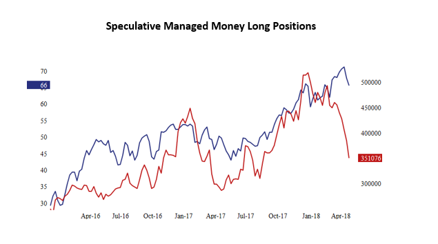 chart showing the speculative managed money long positions
